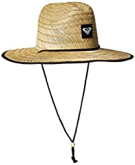 Straw Bush hat for women. Features include: adjustable chin strap, Roxy logo patch and size: 22 inch