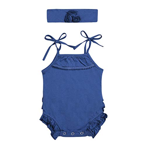 - AutumnFall Children's Sleeveless Sling Frill Princess Summer Clothes Kids Baby Girls Strap Ruffled Hair Band Romper Bodysuit Playsuit (Age:18-24 Months, Navy)