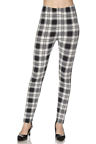 NioBe Unique Graphic Pattern Designed Leggings (One Size, White Black Plaid) (White Pants Plaid)