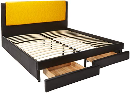 Benzara BM168644 Eastern King Wooden Bed with Citrus Headboard & Underbed Double Drawers Brown Yellow