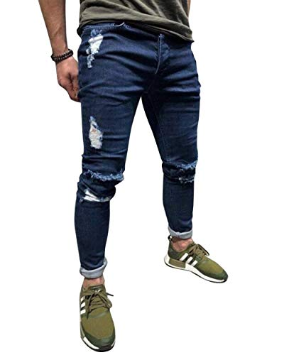 Sfilacciati Uomo Fit R Con Strappati Pantaloni Zipper Skinny Dunkelblau Slim Jeans Giovane Biker Cerniera 1qPxBng