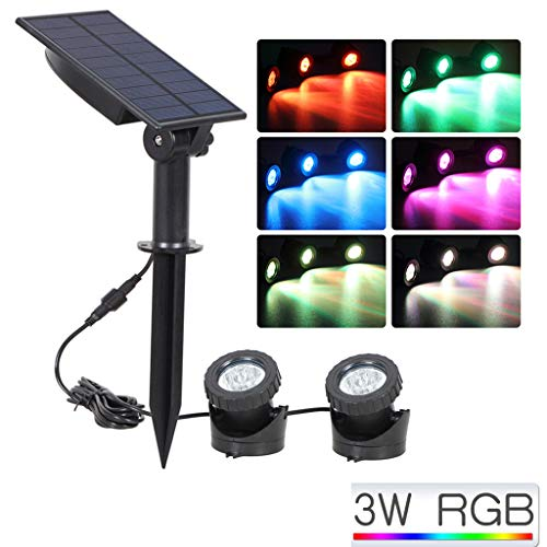 Iusun Night Lights Solar Powered LED Spotlight Waterproof Spot Light Lamp Garden Pool Pond Outdoor Fence Patio Decorations Christmas Wedding Party Holiday New Year Ornament (A)