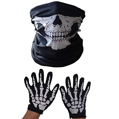 Kookea Skeleton Gloves and Mask Set, Half Ghost Bones Neck Gaiter Tube Shield Protective Balaclavafor Adult Halloween Dance Costume Party Cycling