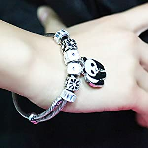Lateefah Handmade Cuff Bangle Stacking Bracelet Adjustable Stainless Steel jewelry Open Cuff Bracelet Bangle Panda Pendant Bangle Unisex Girl Boy Women Men