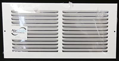 "14""w X 6""h Steel Return Air Grilles - Sidewall and Cieling - HVAC DUCT COVER - White [Outer Dimensions: 15.75""w X 7.75""h]"