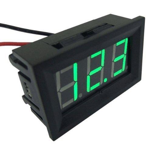 """RioRand® Small Little DC Digital Voltmeter 2-Wire 0.56"""" DC 3-30V Green Bright LED Car Motor Panel Mount Voltage Meter 5V 12V 24V 27V Solar Battery Volt Accurate Power Monitor Gauge"""