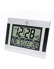 Sveglia digitale da parete con termometro e schermo LCD con calendario H110 - Nero argento