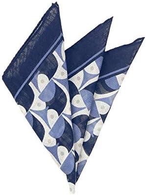 (ザ・スーツカンパニー) MADE IN ITALY/ジオメトリックプリント ウールシルクポケットチーフ ネイビー×ブルー×クリーム