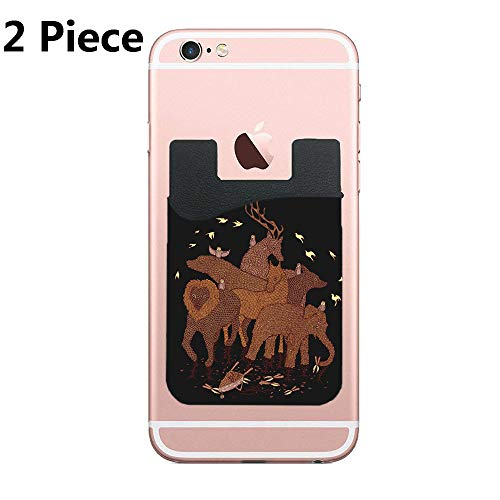 Two Topiary Cell Phone Stick on Wallet Card Holder Phone Pocket for iPhone, Android and All Smartphones (Topiary Card)