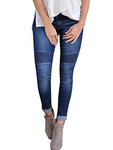 chimikeey Womens Juniors Ripped Skinny Moto Biker Jeans Denim Leggings Jeggings Pants