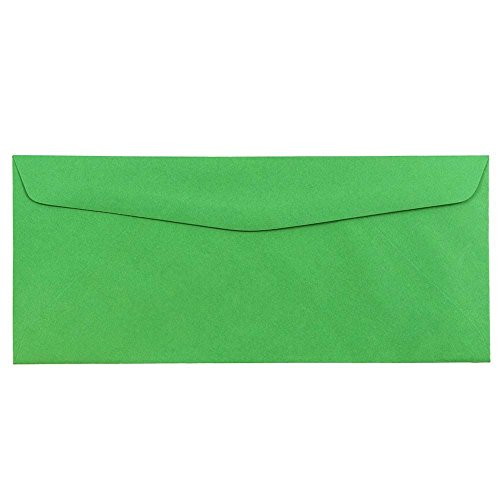 "JAM Paper #10 Business Envelope - 4 1/8"" x 9 1/2"" - Brite Hue Christmas Green - 25/pack"