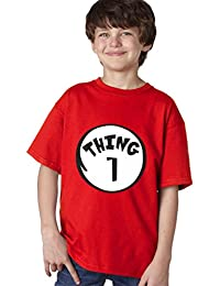 Youth Kids Toddler Boy Girl Unisex Dr Seuss Thing 1 2 3 T-Shirt Red