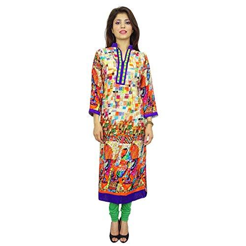 Étnica Kurti diseñador indio de Bollywood Kurta ocasional de las mujeres Top túnica del vestido Multcolour -2