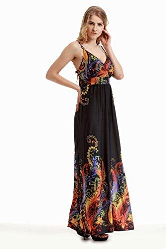 WanYang Mujer Floral Impresión Mangas Largo Fiesta Nocturna Vestir Largo Vestido De Playa Ropa Mujer Talla Grande Nuevo #_1
