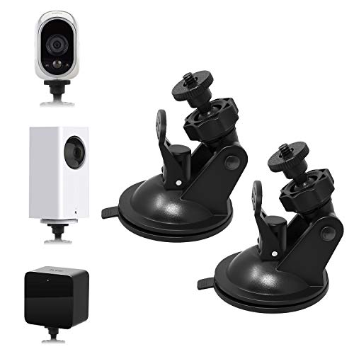 Security Camera Suction Cup Wall Mount For Wyze Cam Pan/Oculus Sensor/HTC Vive Base Station/Arlo and Other Camera, Swivel 360 Degree Adjustable Indoor/Outdoor Bracket with Washable Silica Gel (2 Pack)