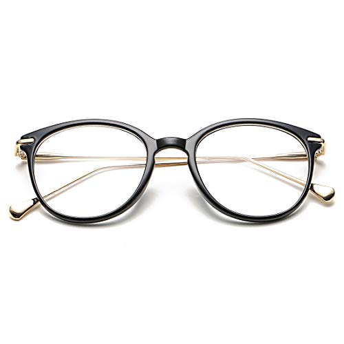 COASION Vintage Round Clear Glasses Non-Prescription Eyeglasses Frames for Women Men (Black/Gold)