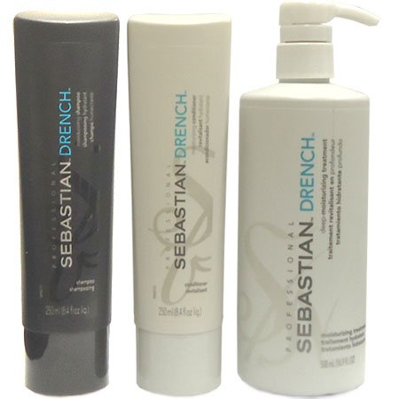 Sebastian Drench Shampoo 8.4oz + Conditioner 8.4oz + Treatment 16.9oz (Combo Set)