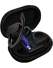 Auricolari wireless Bluetooth 5.0 con custodia di ricarica, 8-10 ore di riproduzione, impermeabilità IPX8, con cancellazione del rumore CVC con microfono integrato per sport, allenamento, palestra