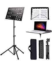 Sheet Music Stand Portable Music Stand Folding Adjustable Height Tripod Base Metal Music Holder for Orchestras Choirs or Stage