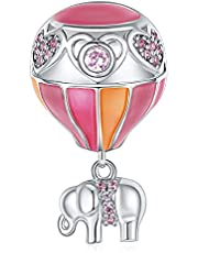 EVABELLE Blessed Journey Dainty Charms for Pandora Bracelets 925 Sterling Silver Sparkle Cubic Zirconia Necklace Pendant Charms Clearance Gift For Best Friends Young Lady Women Jewelry