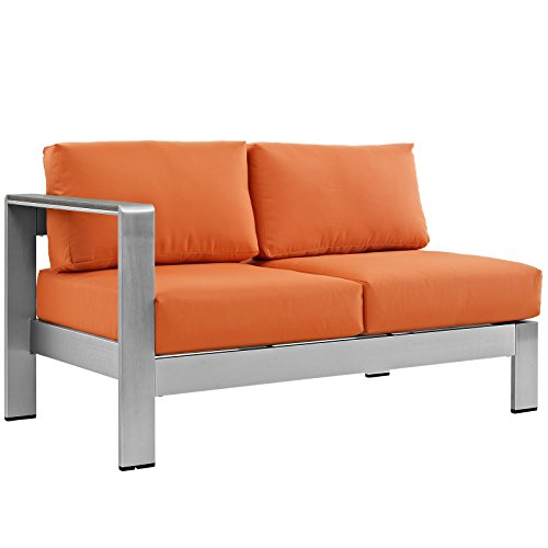 Modway Shore Aluminum Outdoor Patio Left Arm Loveseat in Silver Orange