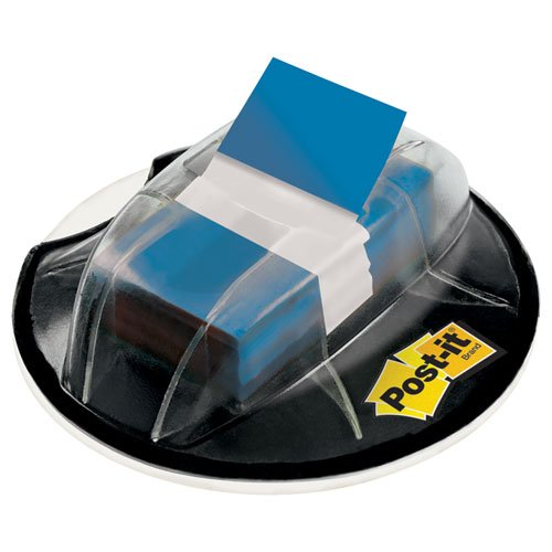 Flags Desk Grip Dispenser - 3M/Commercial Tape DIV 680HVBE Flags in Desk Grip Dispenser, 1 x 1 3/4, Blue, 200/Dispenser