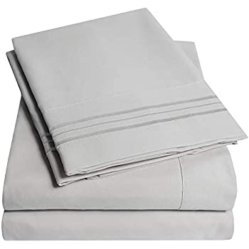 1500 Supreme Collection Extra Soft RV Queen Sheets Set, Silver - Luxury Bed Sheets Set with Deep Pocket Wrinkle Free Hypoallergenic Bedding, Over 40 Colors, RV Queen Size, Silver