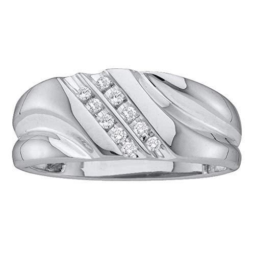 (FB Jewels 14k White Gold Round Diamond Mens Lightweight 2-row Channel-set Wedding Band 1/8 Cttw (I2-I3 clarity; J-K)