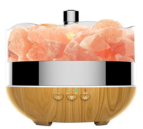 (WiFi Smart Aromatherapy Diffuser & Himalayan Salt Lamp, 400ml Ultrasonic Aroma Diffuser Essential Oil Diffuser Timer Cool Mist Humidifier for Home Office Yoga, Works with Alexa(Salt Rock Not Included))
