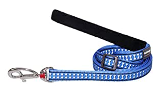 Red Dingo Reflective Dog Lead, Small, Mid-Blue
