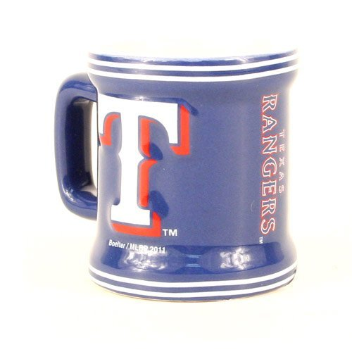 Texas Rangers MLB Licensed Sculpted Ceramic Mini Mug Style Shot Glass (2 (Texas Rangers Glass)