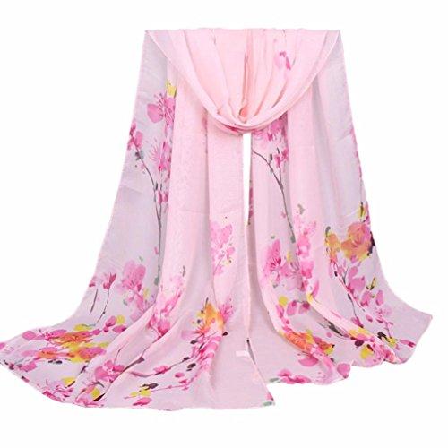 Gift!Elevin(TM)New Women Spring Beautiful Vintage Chiffon Gauze Veil Wrap Shawl Scarf (Pink) (Gauze Vintage)
