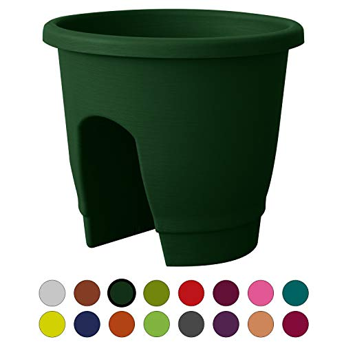 (ALMI Balcony Deck Rail Planter Box with Drainage Trays, Bloomers Railing Round Pot, Drainage Holes, Weatherproof Resin Planter, 12 Inch, Indoor & Outdoor, Green)