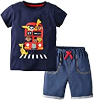 LittleSpring Boy Outfits Denim Shorts and Cartoon Printed T-Shirt 2 Pcs Set