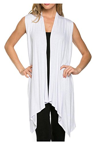 Kumer Women's Lightweight Sleeveless Asymmetric Hem Open Front Drape Cardigan Casual Sweater Vest,White,XX-Large (Drape Front Knit)