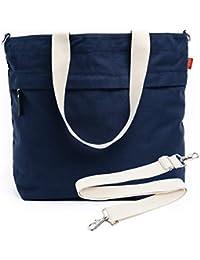 Canvas Market Tote - Large Travel Bag with Outer Zipper Pocket and Adjustable Shoulder Strap (Navy)
