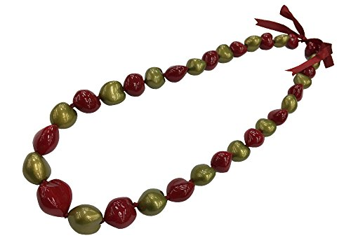 DK Hawaiian Collections Solid Heart Style Kukui Nut Lei 33 Nuts Necklace (GOLD/RED) (Gold Kukui Lei Necklace)