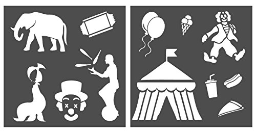 Auto Vynamics - STENCIL-CIRCUSSET01-20 - Detailed Circus / Carnival / Fair Stencil Set - Including Clowns, Tents, Seals, Elephants, & More! - 20-by-20-inch Sheet - (2) Piece Kit - Pair of Sheets