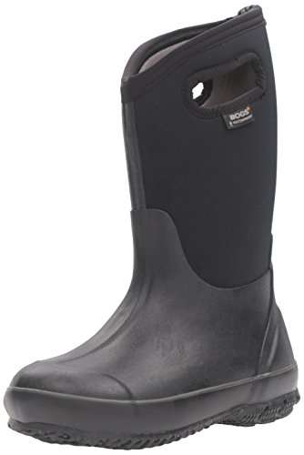 BOGS Kids' Classic High Waterproof Insulated Rubber Neoprene Rain Boot Snow, Black, 4 M US Big Kid