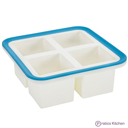 Superb Cube 2 Inch Cube Silicone Ice Cube Tray with EZ-Release & No-Spill Steel Reinforced Rim - Makes 4 Cubes