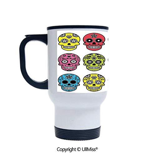 Stylish Stainless Steel Attractive And Distinctive Design 14OZ Travel Mug Cup Ornate Colorful Traditional Mexian Halloween Skull Icons Dead Humor Folk Art Print,Multi Suitable For Hot And Cold Drinks