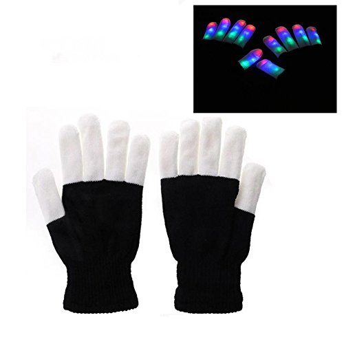 FNWD Adults/Kids Finger Light Gloves, Flashing LED Rave Gloves 6 Modes Light Show Gloves Toys