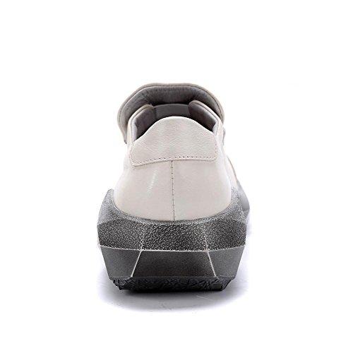 All'aperto singolo Piatto 40 Estate Primavera Caviglia Scarpe Pigro bianca Britannico Tempo XIE Pelle Vero WHITE libero Uomini Nero 43 Stile Hq8n6F
