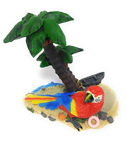Nauti Adorable Red and Blue Parrot on Beach Palm Tree Wine Bottle Holder 6 Inches Tall Polyresin 1206