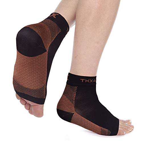 Thx4 Copper Compression Recovery Foot Sleeves for Men & Women, Copper Infused Plantar Fasciitis Socks for Arch Pain, Reduce Swelling & Heel Spurs, Ankle Sleeve with Arch Support-L/XL