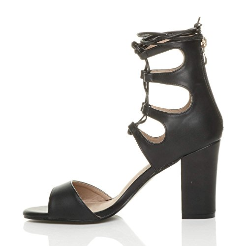 Womens Matte Around Heel Tie Lace Ankle Shoes Size Black up High Sandals Wrap Ajvani 4OqYdw4