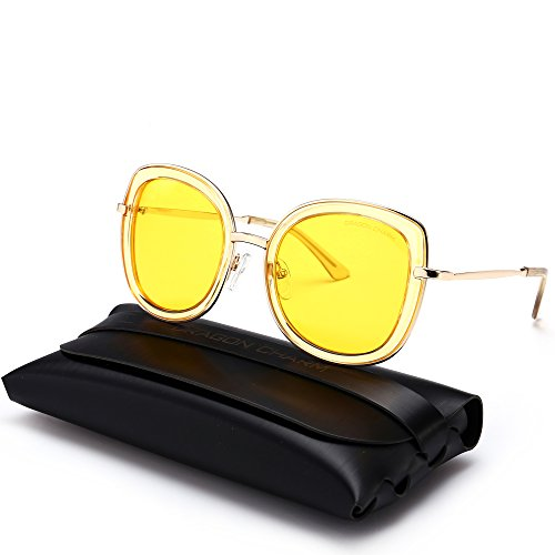 DRAGON CHARM Retro Oversized Fashion Mirrored Sunglasses Women Colored - Sunglasses Charm Charm &