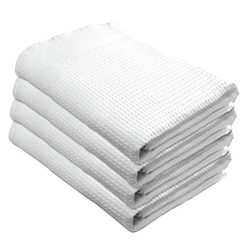Gilden Tree 100% Natural Cotton Classic Waffle Weave Bath Towel Set of 4 (White) (European Style Set)