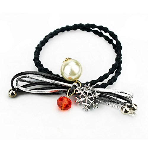 Women Fashion Rhinestone Crystal Pearl Hair Band Rope Elastic Ponytail Holder (Color - ()