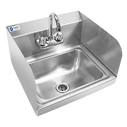 Gridmann Commercial Nsf Stainless Steel Sink With Faucet Sidesplashes Wall Mount Hand Washing Basin